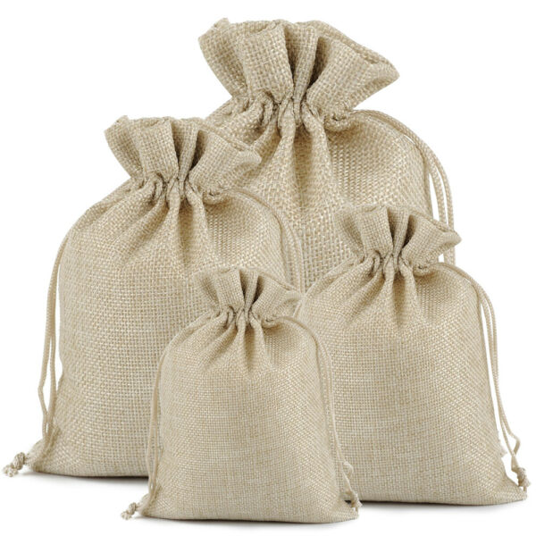 100Pcs 7x9quot; Linen Burlap Bags Drawstring Pouch Gift Bag Jewelry Wedding Favor