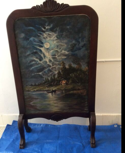 Antique Fireplace Screen Hand Carved Walnut Double Sided Oil Painted