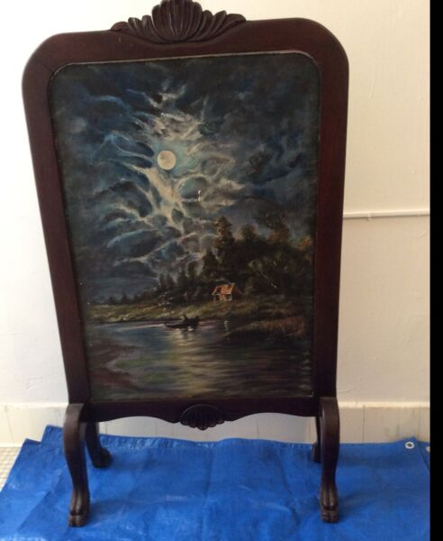 Antique Fireplace Screen Hand Carved Walnut Victorian Double Sided Oil Painted