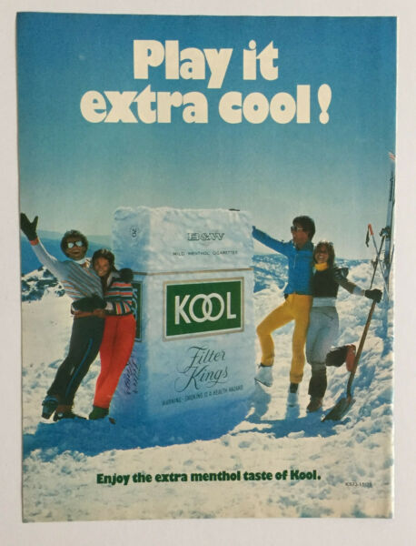 Kool Filter King Cigarettes Skis Snow Play It Extra Cool ~ Vintage PRINT AD 1979