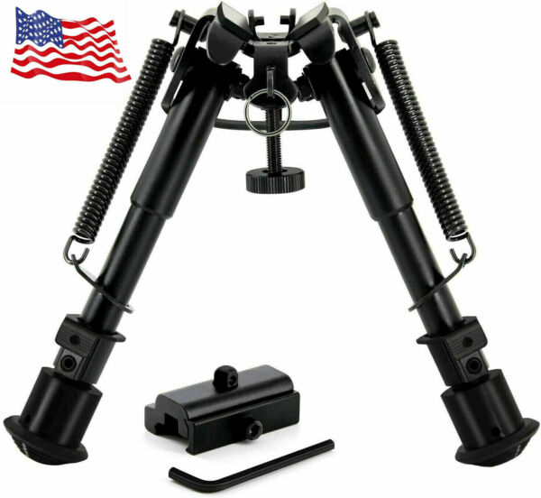 Tactical Rifle Bipod w 6 9 Inch Adjustable Legs and 360 Degree Swivel Adapter