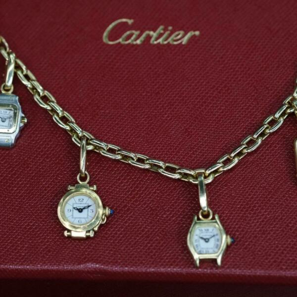 Cartier Yellow Gold Santos Tortue Pasha Tank Watch Charm Link Chain Bracelet