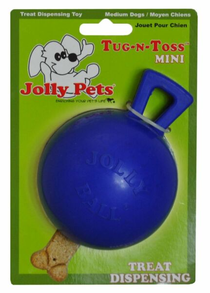 Jolly Pets Tug N Toss Rubber Treat Dispensing Interactive Toy Mini Blue 3 inch $8.48