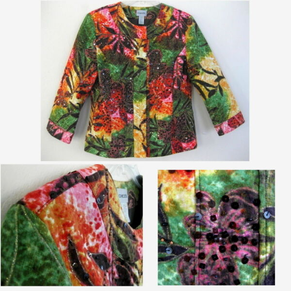 Chicos 0 Floral jacket XS Cotton Sequin Beads Black Pink Green Print Embellished