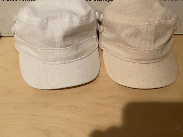 New CADET CAP One White One Tan Stretch One Size