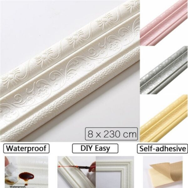 7.5FT Waterproof 3D Wall Border Wall DIY Decor Sticker Self-adhesive Kitchen