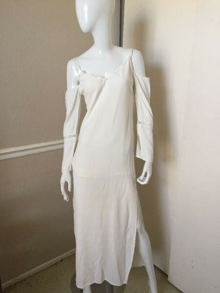 TAVIK BRAND NEW! Ivory White SEXY Cold Shoulder Palloy Lined Maxi Dress Sz S NWT