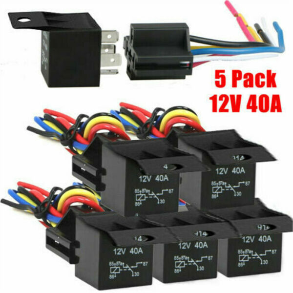 5 Pack 12V 30 40 Amp 5 Pin SPDT Automotive Relay with Wires amp; Harness Socket Set
