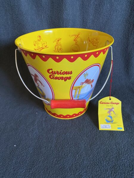 NEW! Curious George Tin Pail  Bucket by Schylling - Universal Studios NWT
