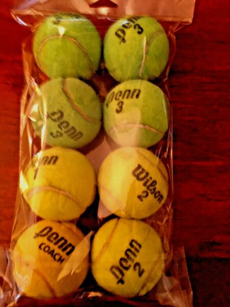 DOG FETCH EXERCISE BALL TOY....... EIGHT 8 TENNIS BALLS UPCYCLED amp; MADE IN USA $11.99