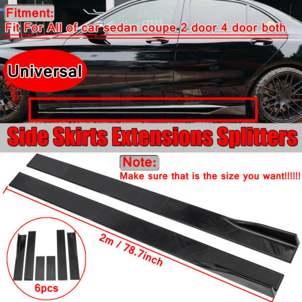 Universal Car Side Skirt Extension Rocker Panel Splitter For Honda BMW Audi Ford