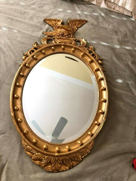 Antique Federal Eagle Gold Giltwood Frame with Convex Mirror