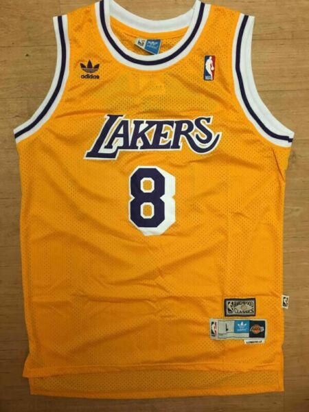 Kobe Bryant 8 Los Angeles Lakers Hardwood Classic ROOKIE YellowGold Sewn Jersey