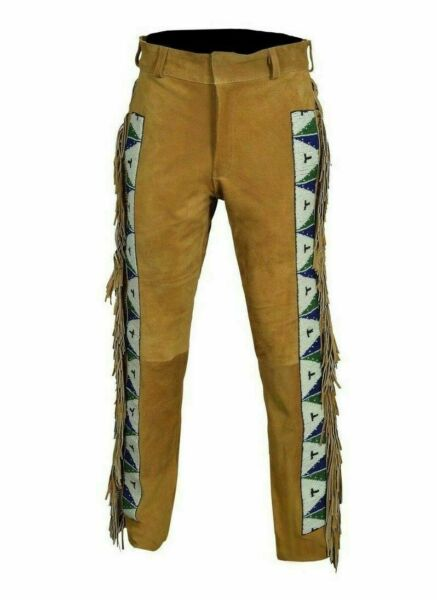 Mens Native American Buckskin Cow Suede Leather Pants Fringes and Beads