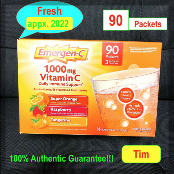 JUST arrive Emergen C 90 Packets 1000 mg Vitamin C Drink immune support