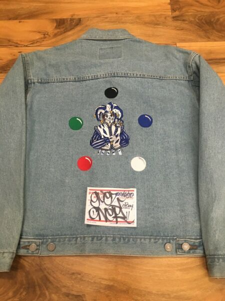 Vintage RARE Magic The Gathering Jester's Cap PLAYTESTER Denim Jacket Sz M 1995