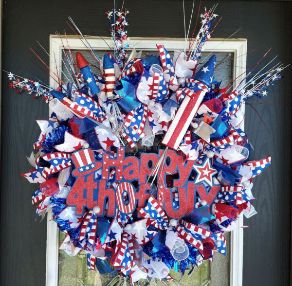 XL Deluxe Patriotic Happy 4th of July BLING Deco Mesh Front Door Wreath Decor