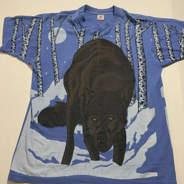 Vintage 1993 Winter Snow Graphic Two Sided Wolf T Shirt Size XL