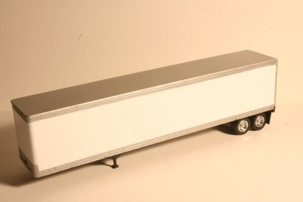 12 Pack 1:53 Scale Tonkin 48#x27; Blank Trailers White w Silver Roof and Trim