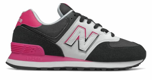 New Balance Women's 574 Split Sail Shoes Black with Pink