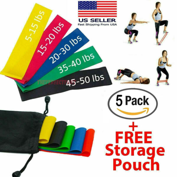 Workout Resistance Bands Loop Set CrossFit Fitness Yoga Booty Leg Exercise Band $7.59