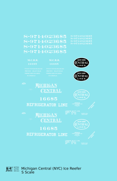 K4 S Decals Michigan Central Wood Ice Reefer White New York Central $6.85