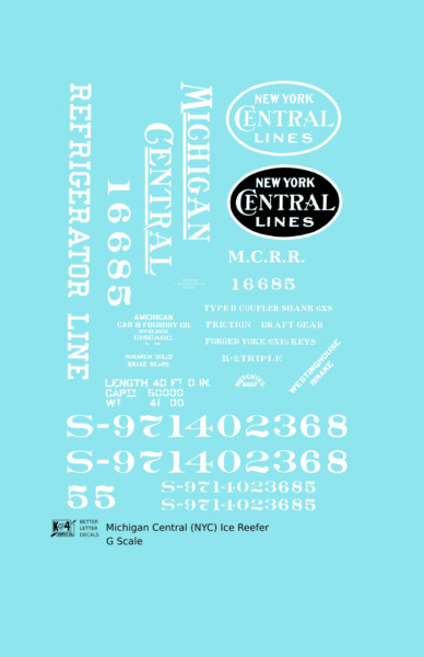K4 G 1:32 Decals Michigan Central Wood Ice Reefer White New York Central $8.85