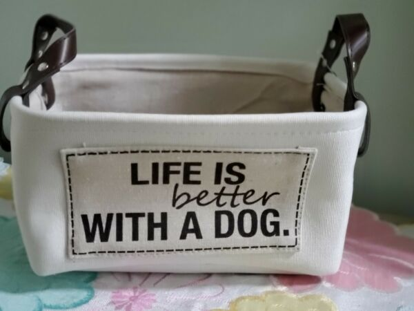 PET Dog Medium Canvas Storage Basket NWT $15.99