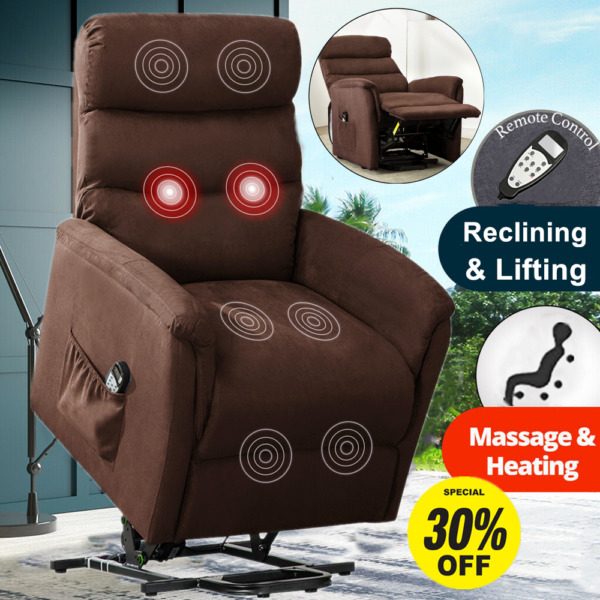 Power Lift Recliner Chair Sofa Padded Seat Armchair Lounge with RC For Elderly $279.99