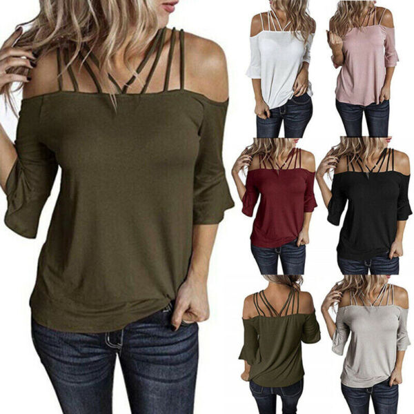 Womens Summer Off Shoulder Sexy T Shirt Flare Sleeve Plus Size Solid Tops Blouse $14.17
