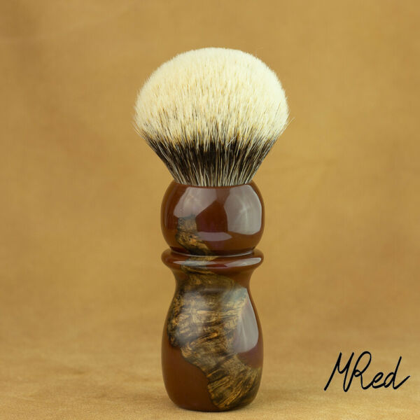 1 332in Shaving Brush Root Precious Resin & Badger Hair 2-Band Silvertip