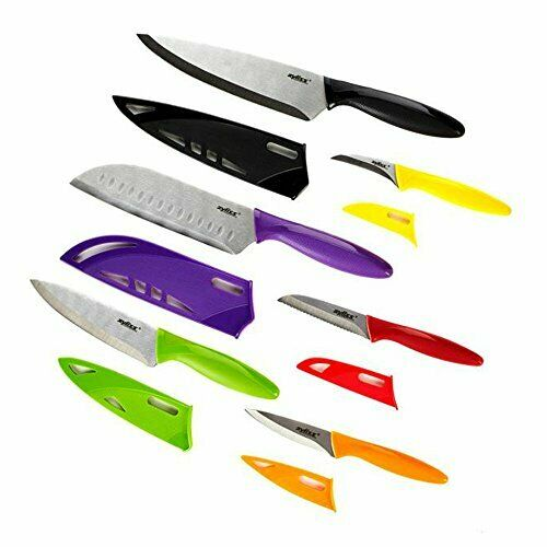 6 Piece Kitchen Knife Set with Sheath Covers Stainless Steel