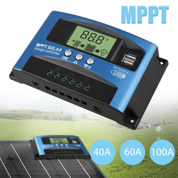 40 100A MPPT Solar Panel Regulator Charge Controller 12V 24V Auto Focus Tracking