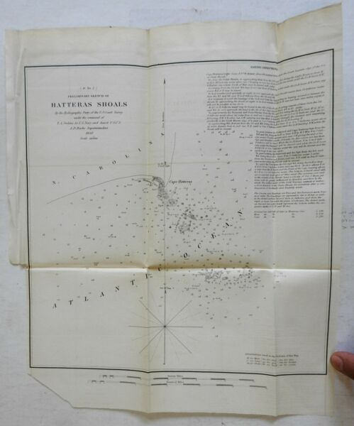 Hatteras Shoals North Carolina US Coastal Survey 1851 lithographed map
