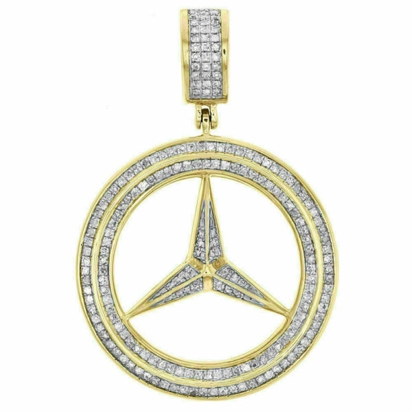 1.50 Ct Round Cut Diamond Mercedes Sign Pendant For Women's 14k Yellow Gold Over