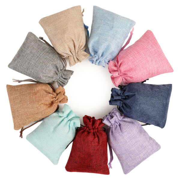 Lot 25 Drawstring Burlap Linen Jute Sack Gift Bags Wedding Favor Jewelry Pouch
