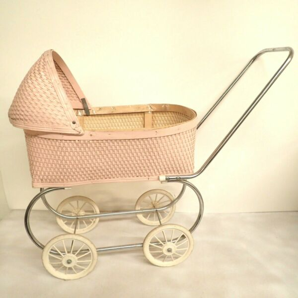 Vtg Baby Doll Buggy Carriage Toy Stroller Pink Wicker Cradle Canopy Pet Cat Dog $84.97