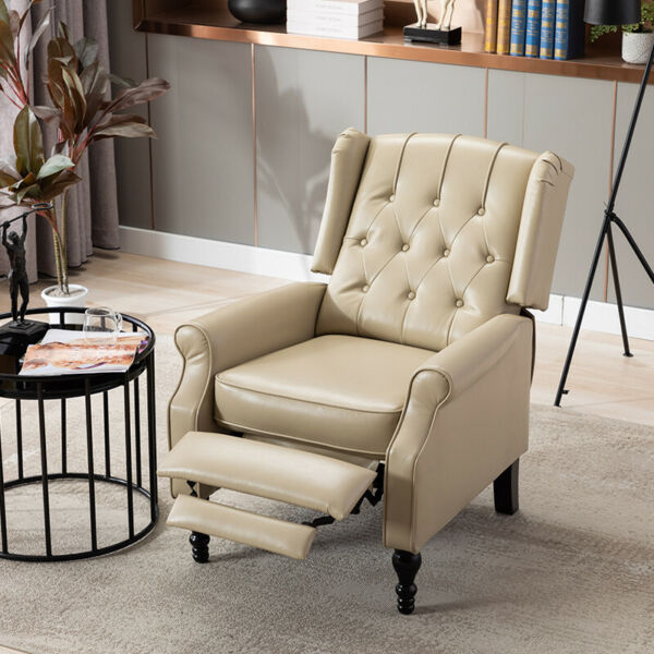 Fabric Recliner Chair Wingback Accent Club Chair for Living Room w Padded Seat