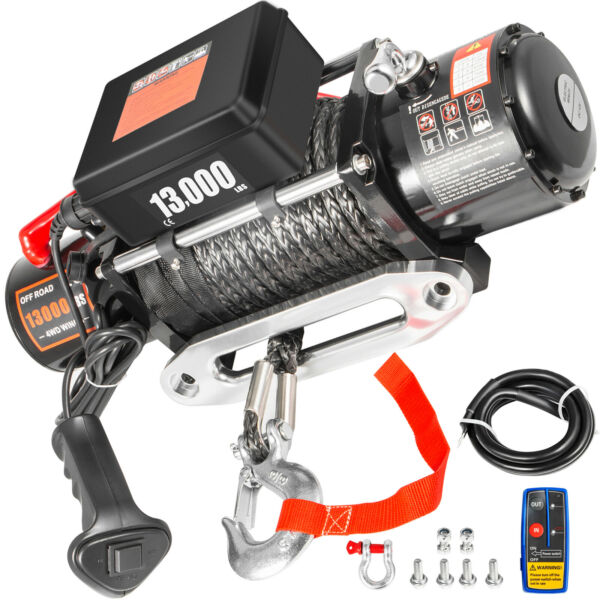 13000LBS Electric Winch 12V Synthetic Rope Off road ATV UTV Truck Towing Trailer $271.93