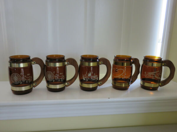 SET OF 5 VTG Siesta Ware AMBER WESTERN MUGS Wood Handled Glasses Tankards Cowboy $21.38