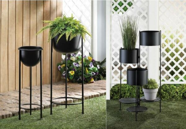 Tall Planters Outdoor Large Indoor Live Plant Iron 3 Tier Stand Backyard Black 2 $51.75
