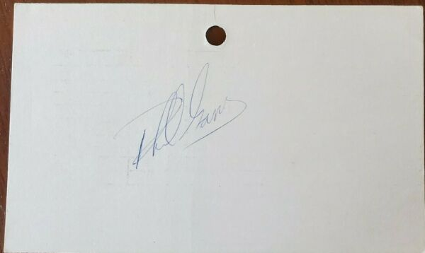 Phil Garner signed 3x5 index card - 1973-1974 A's - 1979 Pirates Astros Giants