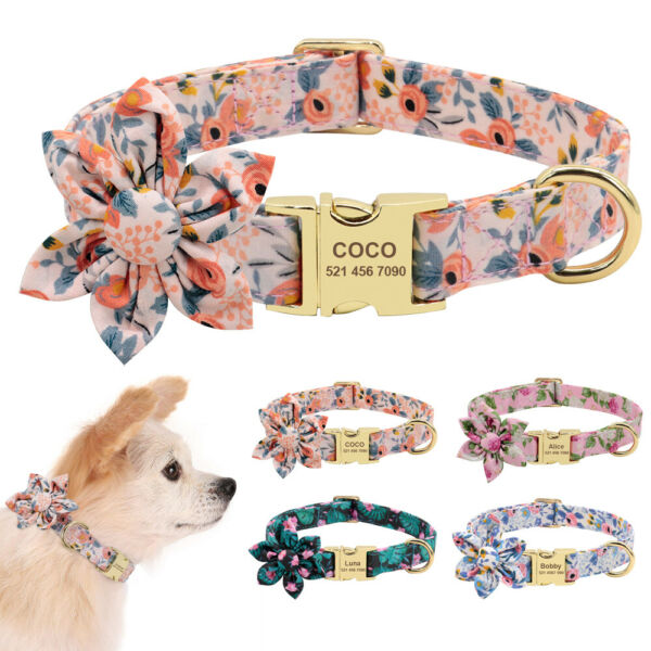 Flower Pet Dog Collar for Girl Dog Personalized Name Identity Tag Engraved S M L $10.99
