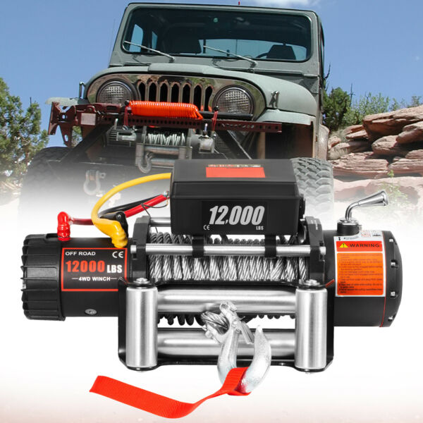 12000LBS Electric Winch 12V Steel Cable Off road ATV UTV Truck Towing Trailer $266.16