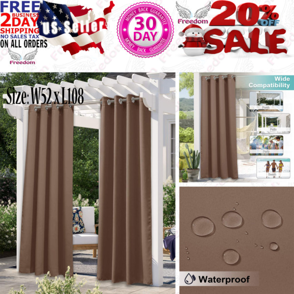 NICETOWN Outdoor Curtain for Patio Waterproof Extra Long W52 W52 x L108 *Tan $40.95