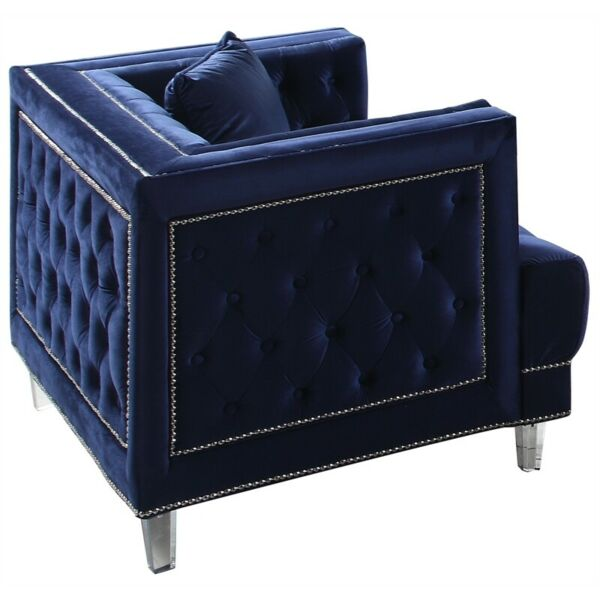 Cosmos Furniture Kendel Blue Modern Navy Blue Chair With Acrylic Legs $737.17