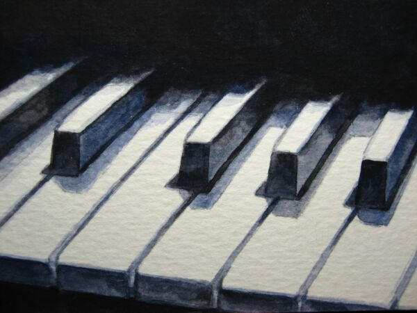 Watercolor Painting Black amp; White Piano Keys Musical Instrument ACEO Art