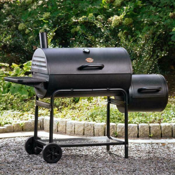 Mobile Cooker Char Griller Smoker Charcoal Food Grill Horizontal BBQ Black NEW