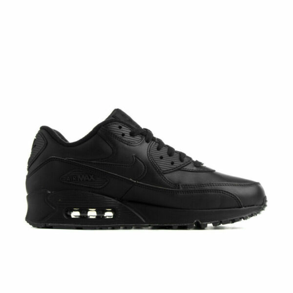Men's Nike Air Max 90 Leather Triple Black Runing Shoes 302519-001
