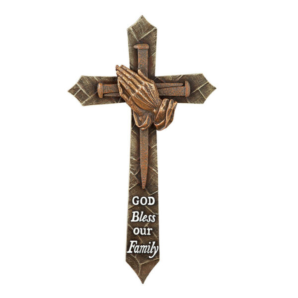 God Bless Our Family Rustic Wall Cross with Praying Hands